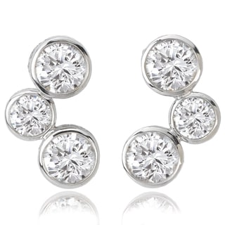 Avanti 14K White Gold 1 1/4 CT TGW Round CZ Bezel Set Three Stone Look Fashion Earrings