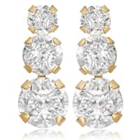 Avanti 14K Yellow Gold 1 1/2 CT TGW Round Cubic Zirconia Three Stone Earrings