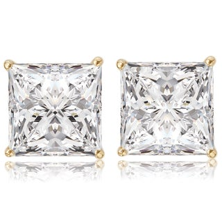 Avanti 14K Yellow Gold 3 CT TGW Princess Cut CZ Stud Solitaire Earrings