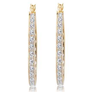 Avanti 14K Yellow Gold 1 7/8 CT TGW Round CZ In and Out Hoop Earrings