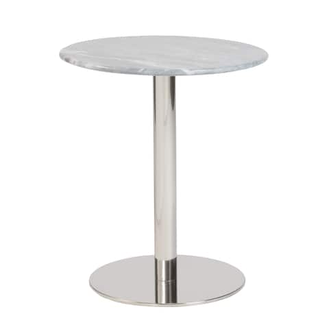 Tammy Round Side Gray Marble with Polished Stainless Steel Base Table