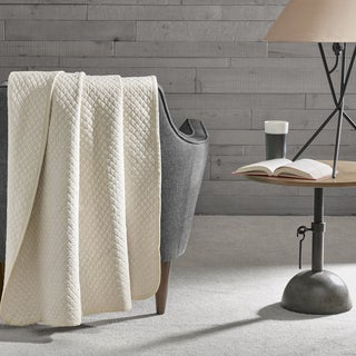 INK+IVY Shelby Cotton Heathered Quilted Jersey Knit Throw 3-Color Option