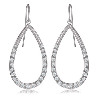 Avanti 14K White Gold 1 CT TGW Round Cubic Zirconia Pear Shape Dangle Earrings