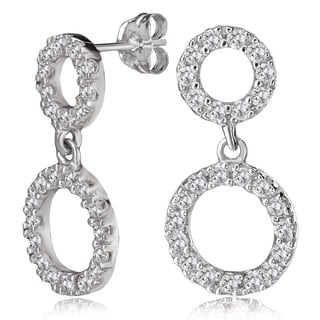 Avanti 14K White Gold Round Cubic Zirconia Double Circle Dangling Earrings