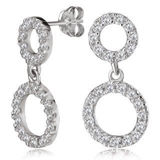 Avanti 14K White Gold Round Cubic Zirconia Double Circle Dangling Earrings