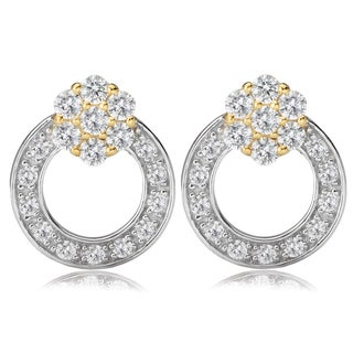 Avanti 14K Two Tone Gold Round Cubic Zirconia Flower and Circle Earrings