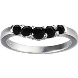 TwoBirch 14k White Gold 1ct TDW Black Diamond Contoured Wedding Ring