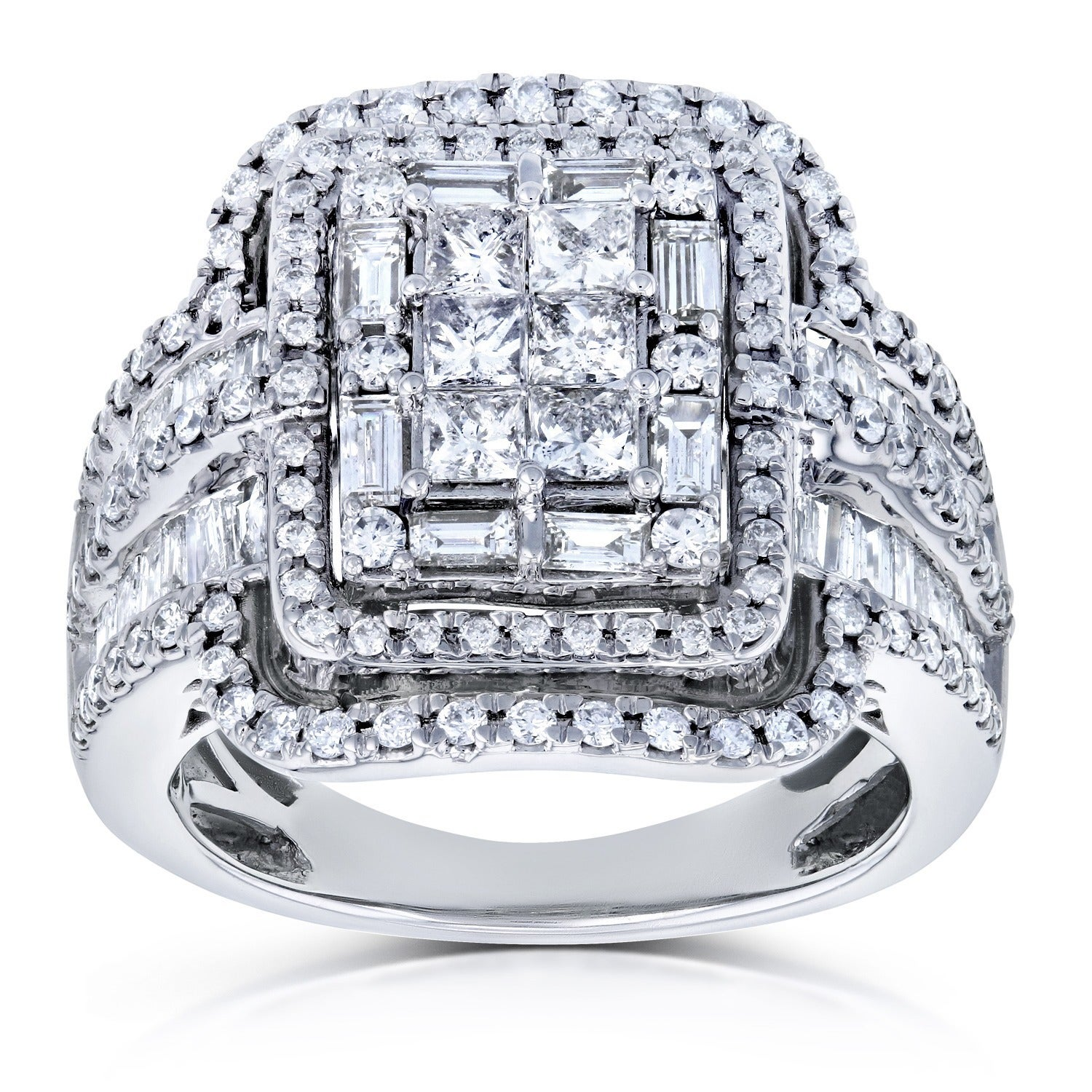 Shop Annello By Kobelli 14k White Gold 2ct Tdw Diamond Princess Cut Halo Engagement Ring Overstock 12991614