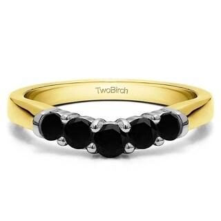TwoBirch Sterling Silver 1ct TDW Black Diamond Contoured Wedding Ring