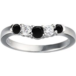 TwoBirch Sterling Silver 1/4ct TDW Black and White Diamon...