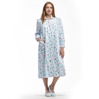 La Cera Women's Blue/Pink Cotton Long-sleeve Duster Snap-front Gown