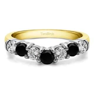 TwoBirch 10k White Gold 1/2ct TDW Black and White Diamond Contour Anniversary Wedding Ring