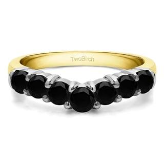 TwoBirch 14k White Gold 1/2ct TDW Black Diamond Contour Anniversary Wedding Ring