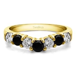 TwoBirch 14k White Gold 1/2ct TDW Black and White Diamond Contour Anniversary Wedding Ring