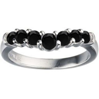 TwoBirch Sterling Silver 3/4ct TDW Black Diamond Contour Anniversary Wedding Ring