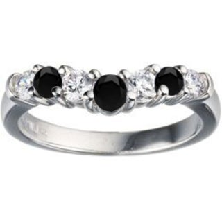 TwoBirch Sterling Silver 1/3ct TDW Black and White Diamond Contour Anniversary Wedding Ring (G-H, I1-I2)