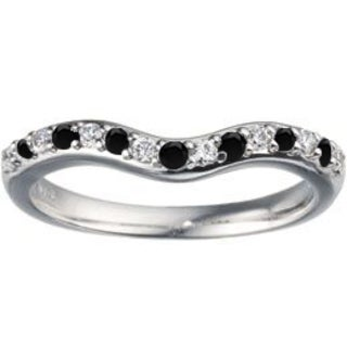 TwoBirch Sterling Silver 1/4ct TDW Black and White Diamond Delicate Curved Wedding Ring (G-H, I1-I2)