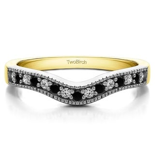 TwoBirch Sterling Silver 1/4ct TDW Black and White Diamond Vintage Contour Milgrain Band (G-H, I2-I3)