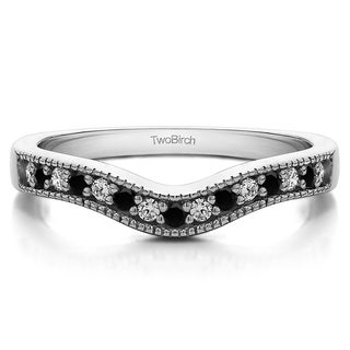 TwoBirch Sterling Silver 1/3ct TDW Black and White Diamond Vintage Contour Band