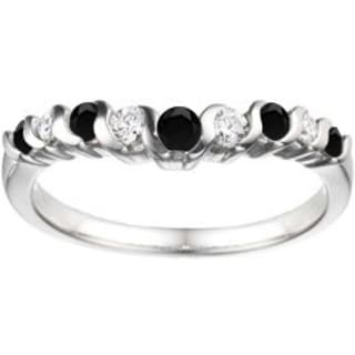 TwoBirch Sterling Silver 1/2ct TDW Black and White Diamond Slightly Contoured Twirl Wedding Ring (G-H, I2-I3)