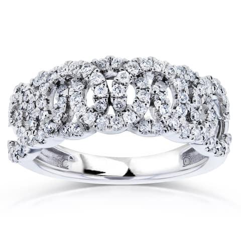 Annello by Kobelli 14k White Gold 1/2ct TDW Interlocking Circles Diamond Anniversary Ring