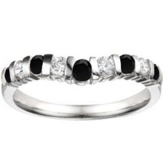 TwoBirch 10k White Gold 2/5ct TDW Black and White Diamond Classic Contour Tracer Band (G-H, I2-I3)