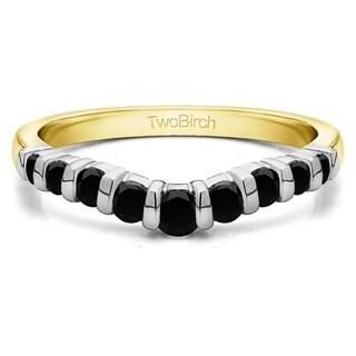 TwoBirch 14k White Gold 3/4ct TDW Black Diamond Classic Contour Tracer Band