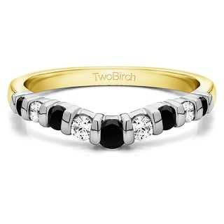 TwoBirch Sterling Silver 3/4ct TDW Black and White Diamond Contour Tracer Band (G-H, I2-I3)