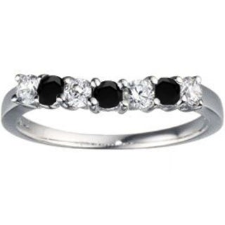 TwoBirch 14k White Gold 1/2ct TDW Black and White Diamond Slightly Contoured Classic Wedding Ring (G-H, I1-I2