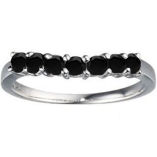 TwoBirch Sterling Silver 1/2ct TDW Black Diamond Slightly Contoured Classic Wedding Ring