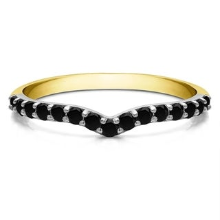 TwoBirch Sterling Silver 1 6ct TDW Black Diamond Delicate Notched Contour Band