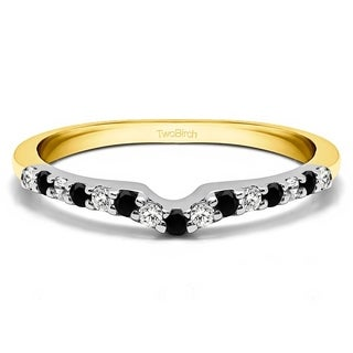 TwoBirch Sterling Silver 1/6ct TDW Black and White Diamond Delicate Notched Contour Band
