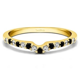 TwoBirch Sterling Silver 1/4ct TDW Black and White Diamond Delicate Notched Contour Band (G-H, I1-I2)