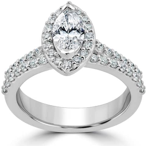 14k White Gold 1 1/2ct TDW Marquise Halo Clarity Enhanced Diamond Engagement Wedding Ring Set - White H-I - White H-I