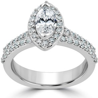 14k White Gold 1 1/2ct TDW Marquise Halo Clarity Enhanced Diamond Engagement Wedding Ring Set