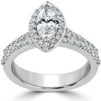 14k White Gold 1 1/2ct TDW Marquise Halo Clarity Enhanced Diamond Engagement Wedding Ring Set