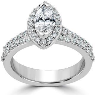 14k White Gold 1 2ct TDW Marquise Halo Clarity Enhanced Diamond Engagement Wedding Ring