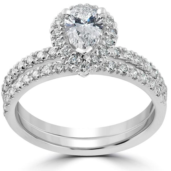 14k white gold 1 110ct tdw pear shape halo diamond engagement wedding ring set - Pear Shaped Wedding Ring Sets