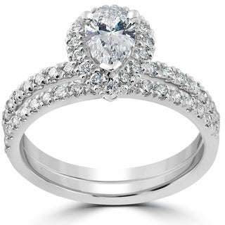 14k White Gold 1 1/10ct TDW Pear Shape Halo Diamond Engagement Wedding Ring Set (H-I, I1-I2)