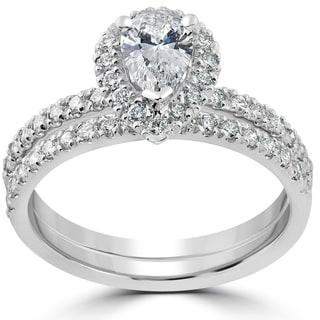 14k White Gold 1 1/10ct TDW Pear Shape Halo Diamond Engagement Wedding Ring Set
