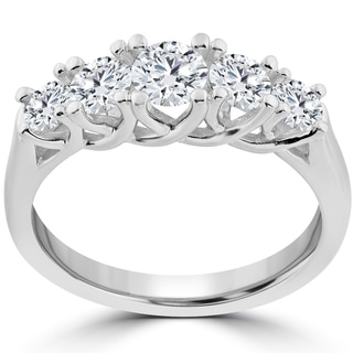 14k White Gold 1 Ct TDW 5-Stone Graduated Round Diamond Wedding Ring