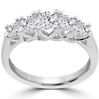 14k White Gold 1 Ct TDW 5-Stone Graduated Round Diamond Wedding Ring (I-J,I2-I3)