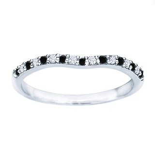 TwoBirch Sterling Silver 1/5ct TDW Black and White Diamond Contour Matching Wedding Ring (G-H, I2-I3)