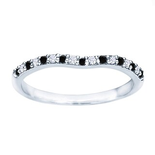 TwoBirch Sterling Silver 1/5ct TDW Black and White Diamond Contour Matching Wedding Ring