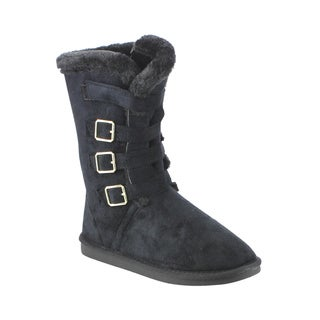 Forever Women's Faux Suede Buckle Mid-calf Flat-heel Winter Boots