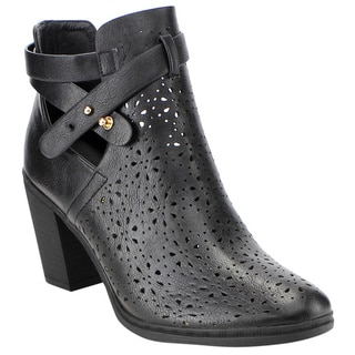 Forever Women's Faux-leather, Perforated, Chunky-heeled Ankle-strap Booties