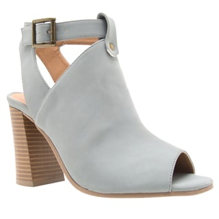 Qupid Women's Grey Faux-leather Block Heel Ankle Bootie