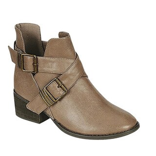 Breckelle's Women's Solid-colored Faux-leather Criss Cross Buckle Strap Chunky Heel Ankle Booties