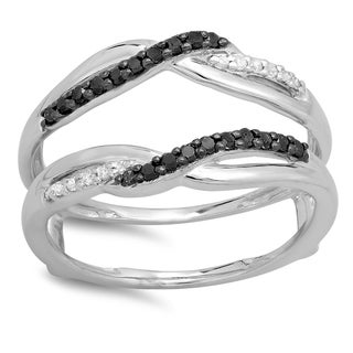 10k White Gold 1/4ct TDW Black and White Diamond Wedding Ring Double Guard (I-J, I2-I3)