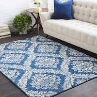 Riley Blue Damask Trellis Area Rug - 7'10 x 10'3